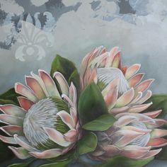 I used 7 copies to cut out the 80 pieces which I then layered/built up into the final product. Protea Art, Protea Flower, List Of Paintings, Easy Paintings, Fruit Painting, King Art, Botanical Flowers, Flower Tutorial, Vintage Flowers