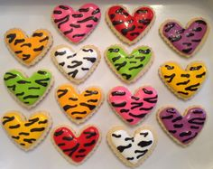 Zebra Animal Print Hearts - Decorated Sugar Cookies by I Am The Cookie Lady