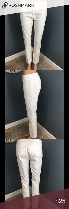 Cream winter white ankle pants Ann Taylor Soft fabric in winter white slim fit and ankle length. Popular Marisa skinny fit. Excellent used condition. Ann Taylor Pants
