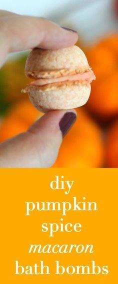 diy pumpkin spice macaron bath bombs--SO CUTE!