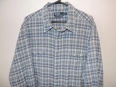 Ralph Lauren Blue Plaid Snap Button Authentic Western Shirt 2XL Mint Fast Ship #RalphLauren #Western