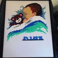 Custom baby present hama beads by apinalapsi88 - Pattern: https://de.pinterest.com/pin/374291419010909084/