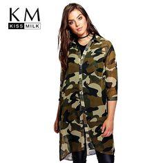 Kissmilk Plus Size Fashion Women Clothing Basic Streetwear Camouflage Dress Three Quarter Sleeve Big Size Dress 3XL 4XL 5XL 6XL