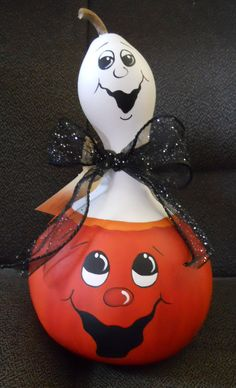 Hand Painted Halloween Gourd by Mary Burk
