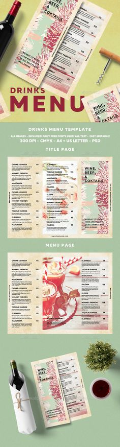 Cocktail Drinks Menu Drink menu, Menu and Menu templates