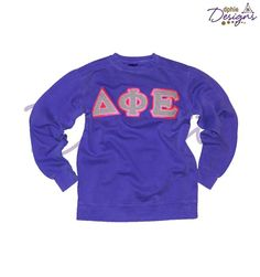 NEW DPhiE Designs Apparel!! Purple Sweatshirt w/ Gray Checkered letters and bright pink detail!