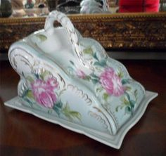 RARE Pretty Limoges China Large Covered Cheese Dish Beautiful Pink Floral