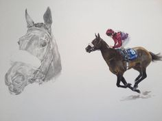 Equine Artwork Thoroughbred Racehorse 'Magenta' by Tony O'Connor whitetreestudio.ie