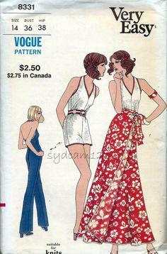 Vogue 8331 Vintage 70s Halter Jumpsuit  Pattern Shorts or Pants by sydcam123