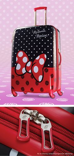 Minnie Mouse Spinner Hardside Red Bow 21 and 28 by American Tourister The official luggage of Walt Disney World Resort and Disneyland Disney Fun, Disney Style, Disney Trips, Disney Handbags, Disney Purse, Voyage Disney, Disney Luggage, Cute Suitcases, Disney Artwork