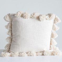 Cotton Woven Square Pillow with Tassels Cream Cushions, Scatter Cushions, Floor Cushions, Pillow Covers, Neutral Pillows, White Pillows, Boho Pillows, Diy Throw Pillows, Pillows