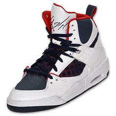 0aaba321270e Jordan Flight 45 High Kids  Shoes White Obsidian Gym Red  89.99 Pumped Up