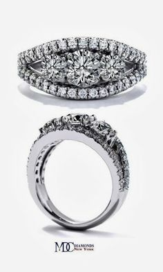 Three Stone Round diamond split band pave Engagement Ring