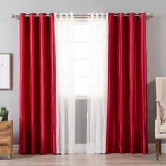 Best Home Fashion 84 in. L uMIXm Tulle and Red Faux Silk Blackout Curtain (4-Pack), Tulle Overlay and Red Faux Silk Blackout Panel