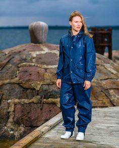 - Farmerrain workwear - Sofie in atlas blue jacket and bibipants Blue Raincoat, Rain Suit, Rain Gear, Girls Wear, Cool Suits, Work Wear, Rain Jacket, Windbreaker, How To Wear