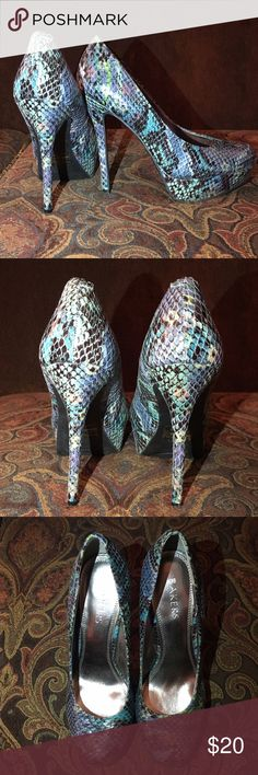 Snake print platform pumps Platform pumps from Bakers. Print is blue and green toned snakeskin. Very gently worn. Size 8.5. Open to offers Bakers Shoes Heels