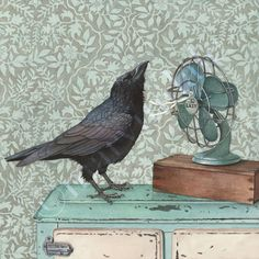 Crow Cools Off (framed print from watercolour of crow with antique fan by Cori Lee Marvin)