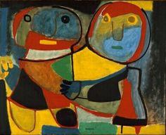 """Karel Appel, (1921-2006), De directeur van het Stedelijk Museum, Willem Sandberg, had echter """"geen ruimte"""" om kunst van de Experimentele Groep te exposeren. In Denemarken werd het werk van Cobra door de pers welwillend ontvangen. Toen Appel naar Kopenhagen reisde, genoot hij daar van de gemoedelijke sfeer. - Paar -1951"""