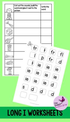 These long vowel worksheets are just what you need for you Kindergarten or First Grade students! These no prep worksheets are perfect for Literacy lessons, Literacy centers or word work. Are you teaching your class about long i sounds - long ie, long igh, long y and long i with magic e? These printables will be easy to implement and engaging during your spelling or reading lessons. These ready to go worksheets are accessible to all students and are easy to implement. Long Vowel Worksheets, Long Vowels, Vowel Sounds, Long I, Reading Lessons, Word Pictures, Word Work, Literacy Centers, First Grade