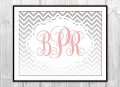 Ombre Chevron Monogram Art Print  Coral Pink & Gray  by BySamantha, $6.00