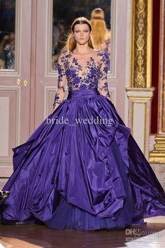 Wholesale Dark Purple Lace Long Steeve Prom Dresses Jewel Neck Bustled Applique Evening Dresses zuhair murad, Free shipping, $161.36/Piece | DHgate