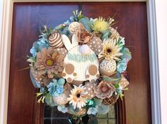 Backside of a Bunny Welcome Wreath by HertasWreaths on Etsy