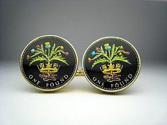Great British enamelled coin cufflinks pound Scottish Thistle pound