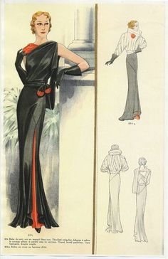 1930's slinky evening dress. Also, look at the design of the short evening wrap in the small illustrations. Its killer! Too bad there isn't a full color of that too.