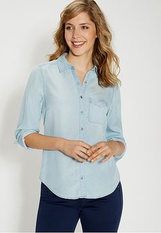 chambray button down shirt in light wash with one pocket (original price, $39) available at #Maurices