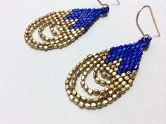 Blue and Gold Drop Earrings. Beadwork Earrings. Beaded Earrings.