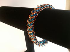 Turquoise and orange elfweave braid chainmaille by galiam34jewelry, $25.00