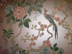 vintage wallpaper for sale | dining room pheasant vintage wallpaper - Retro Renovation