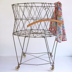 vintage wire laundry basket – wheels and collapsable  by:-katybitsandpieces