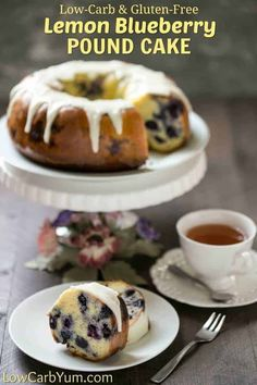 Have company coming or need something for a special brunch? This low carb gluten free lemon blueberry pound cake recipe is sure to please all! Gluten Free Cakes, Gluten Free Recipes, Low Carb Recipes, Gluten Free Lemon Cake, Atkins Recipes, Easy Recipes, Low Carb Deserts, Low Carb Sweets, Lemon Blueberry Pound Cake