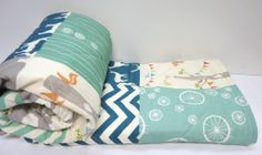 Baby Boy QuiltOrganicRetroBirch FabricModern by NowandThenQuilts