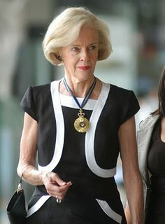 Governor General of Australia Quentin Bryce in a sharply tailored black and white dress