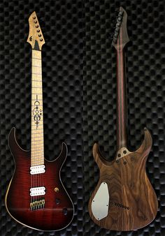 """6 string 25,5""""-26,5"""" VanderMeij Magistra guitar; Walnut body; Flamed maple top with wine red burst highgloss finish; Faux binding; 11-ply wenge/purperheart neck with maple veneers; Birdseye maple fingerboard with Luminlay sidedots and custom crop circle inlay; 24 stainless steel Jescar Enterprises jumbo frets; Bare Knuckle Pickups Juggernaut and VHII pickups; Hipshot Products Inc multiscale bridge and Sperzel Guitar Tuners."""