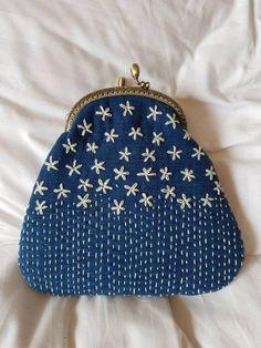 Handstitched Cross Bag Sashiko pattern