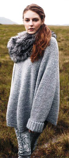 Perfect for a cold #winter day. Michael Kors faux fur over-sized sweater grey