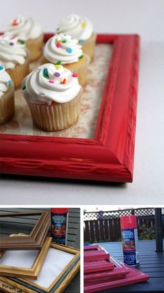 Just to make you fall in love with the old picture frame crafts, Just have a look at these DIY ideas to reuse old picture frames for DIY Projects that are super creative Picture Frame Crafts, Old Picture Frames, Old Frames, Vintage Frames, Cheap Frames, Marco Diy, Cadre Photo Diy, Party Frame, Cupcake Stands