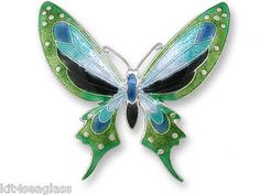 Zarah-Blue-Mariposa-Butterfly-PIN-Sterling-Silver-Enamel-Brooch-Free-Ship
