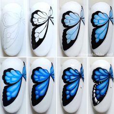 100 trendy new nail art collections worth having - Page 37 of 127 - Inspiration Diary New Nail Art, Nail Art Diy, Cool Nail Art, Summer Acrylic Nails, Summer Nails, Butterfly Nail Art, Animal Nail Art, Nail Art Studio, Nail Growth