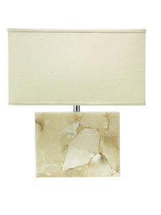 Large Borealis Alabaster Table Lamp with Large Rectangle Shade in Stone Linen