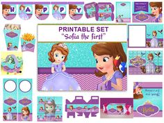INSTANT DOWNLOAD Sophia the first  party kit , Sofia the first Birthday Party Package Printable Set, Amber, James, Princess Sofia.