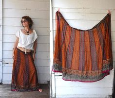 Colorful India Maxi Skirt Cotton Boho Gypsy by LaDeaDeiSogni, $40.00
