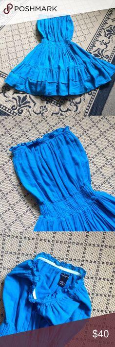 🐳☀️ Bright Turquoise Blue Strapless Dress🌟🇺🇸 Sweet and Flouncy! 100% Cotton Bright Blue Lightweight Gauzy Material. Eyelet Detail Around Top. Elasticized Waist. Moda International for Victoria's Secret Brand Size XS Moda International Dresses