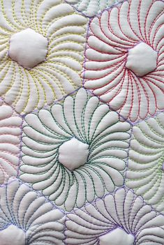 Free pattern: Learn how to quilt feathers on hexagons. 2 Designs included, complete instructions and Hexagon Flower sheets for free motion quilting practice