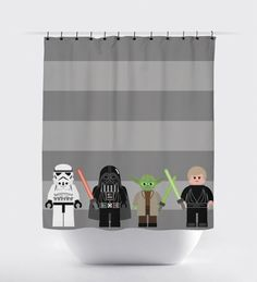 Lego Star Wars shower curtain (PrintArtShoppe) - possibly contact for a 4.5' x 4.5' curtain in red for play area.