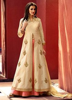 Art Silk Beige Long Choli Lehenga