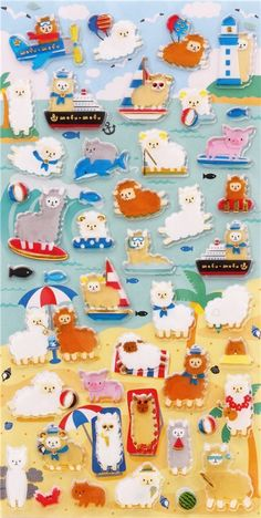 kawaii hard 3D stickers animal alpaca beach Japan 2
